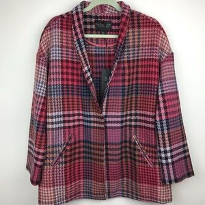 Rachel Zoe Pink Houndstooth Plaid Wool Blazer Coat